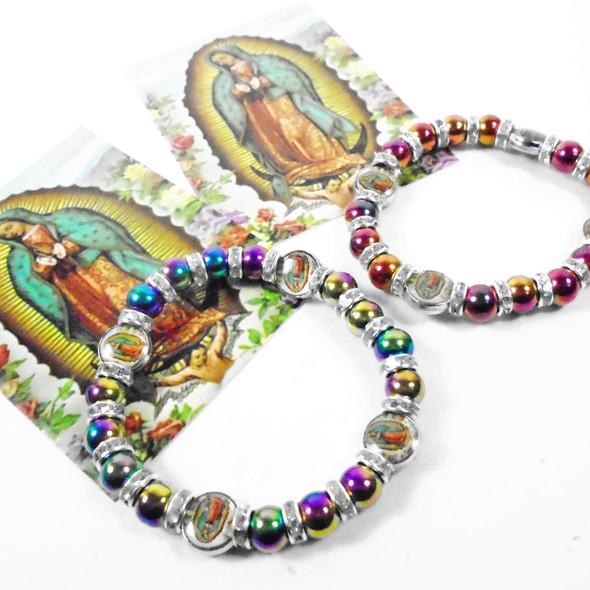 Metallic Glass Bead & Crystal Bracelet w/ Guadeloupe Charm  .56 ea