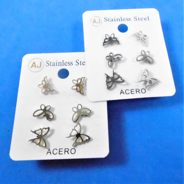 3 -Pair Gold & Silver Stainless Steel Earrings Butterfly Theme   .58 per set