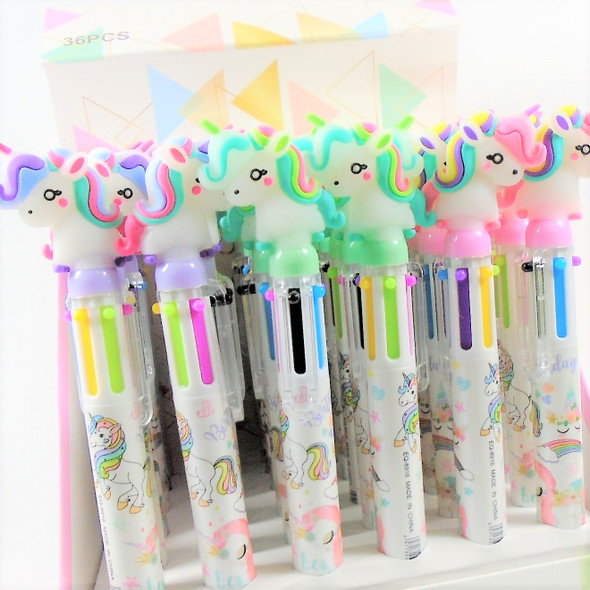 "7""  6 Color  Unicorn Theme Ink Pen 36 per display bx  . 58 ea"