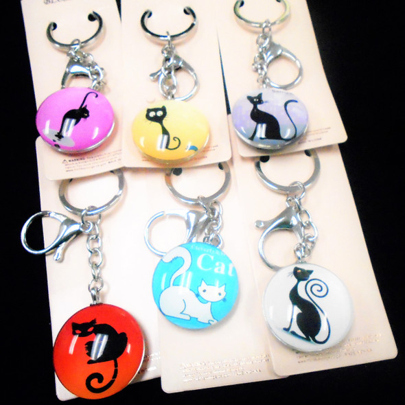DBL Sided Glass Keychains w/ 12 Mixed Styles Expression Cats  .56 each