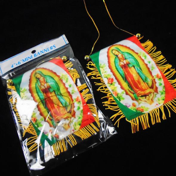 """4"""" X 6"""" Banner Tassel Flag Guadalupe 12 per pk .56 each"""