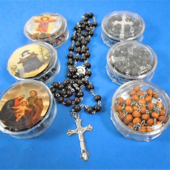 """36"""" Wood Beaded  --Rosary w/ Silver Cross w/ JESUS in Keepstake Box  .58 ea"""