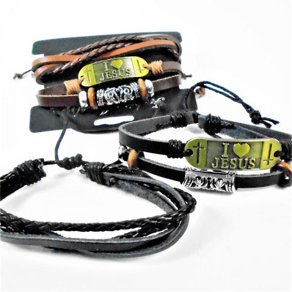 2 Pk Multi Strand Leather Bracelets w/ I Love JEsus  .58 per set
