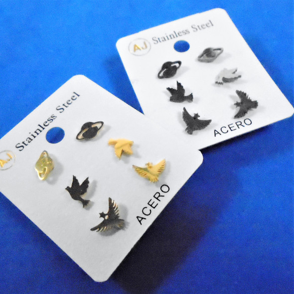 3 -Pair Gold & Silver Stainless Steel Earrings Birds/Space Theme   .58 per set