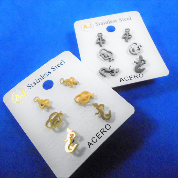 3 -Pair Gold & Silver Stainless Steel Earrings Mermaid/Ocean Theme   .58 per set