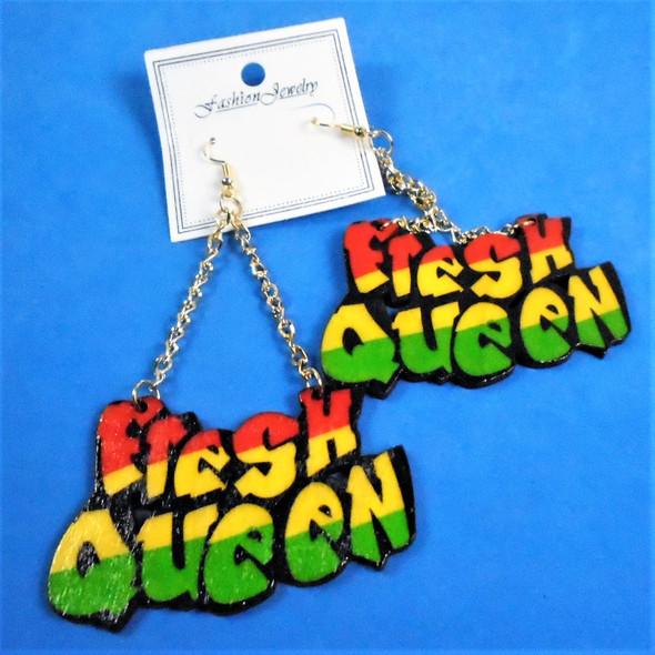 """3"""" Rasta Color Fresh Queen Gold Chain Wood Earrings  .56 per pair"""
