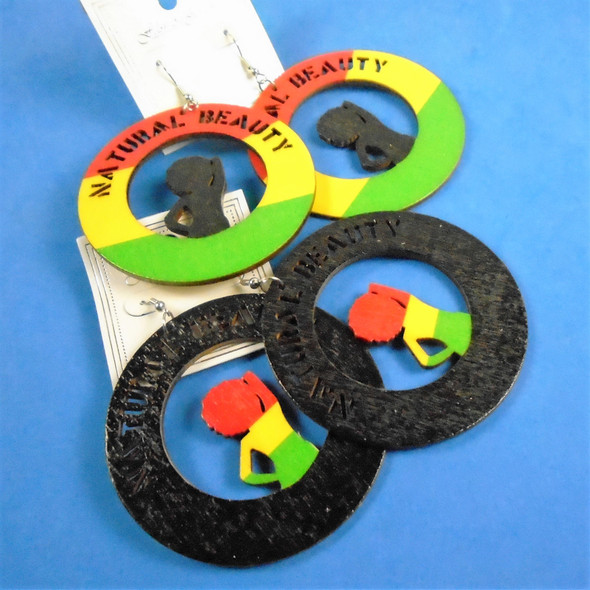 "2.75"" Rasta Color Natural Beauty Wood Earrings 2 colors   .54 per pair"