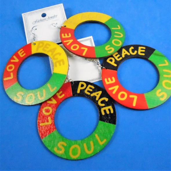 "2.75"" Round Wood Earrings  Rasta Color Love,Peace,Soul  2 colors  .54 per pair"