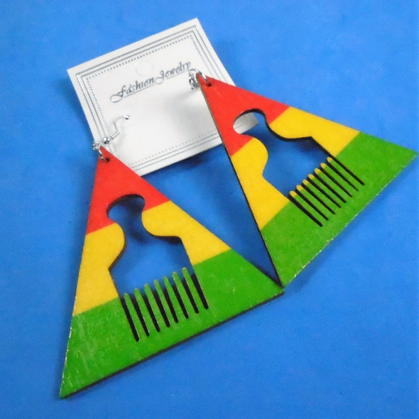"2.5""  Triangle  Wood Earrings  Rasta Color w/ Comb Center  .54 per pair"