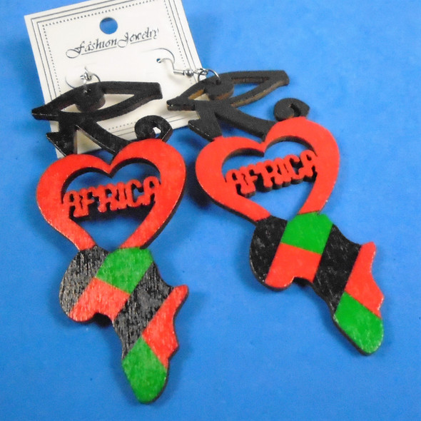"""3.75"""" African Color Map  Wood Earrings w/ Red  Heart  .54 per pair"""