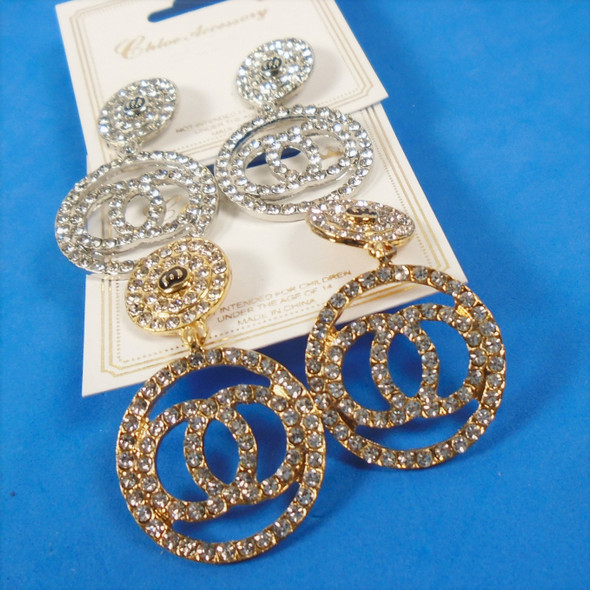 "1.5"" Gold / Silver Circle Theme Crystal Stone Fashion Earrings .58 per pair"