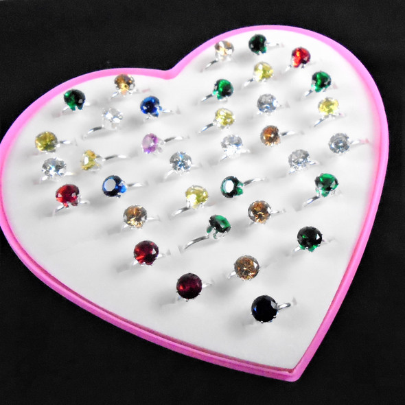 Kid's Silver  Adj. Ring w/ Mixed Color Crystal Stones 36 per bx .21 each