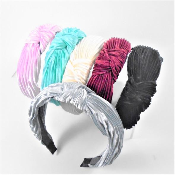 "Popular 1.5"" Pleated Fabric  Headbands w/ Knot   .56 each"