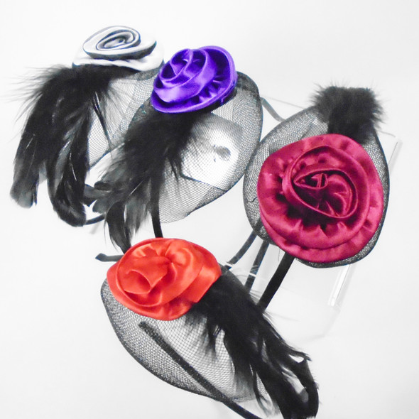 Fashionable Headbands Satin Flower Black Mesh & Feather  Only .62 each