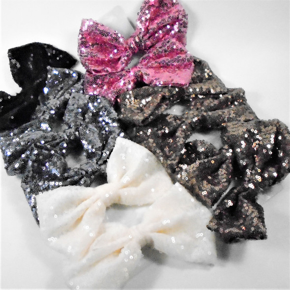 "6"" Sequin Fashion Gator Clip Bows  5 colors  .56 each"