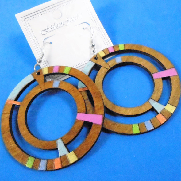 "3"" Multi Color Natural & Pastel Colored Round Wood Fashion Earrings    .54 per pair"