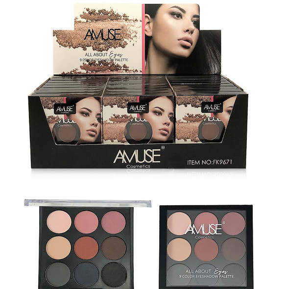 All About Eyes 9 Color Eyeshadow Pallet  24 per display bx $ 1.75 each