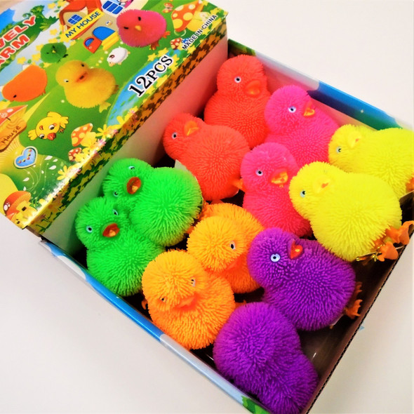 "3.5"" Asst Color Flashing Puffer Ducks 12 per display bx .75 ea"