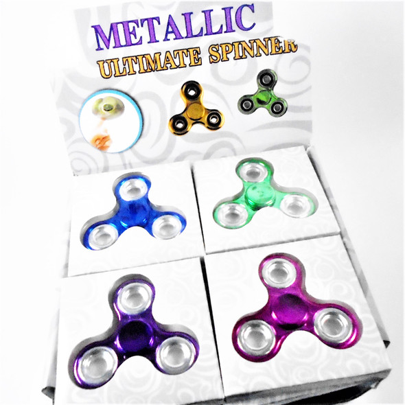 """Best Quality 3"" Fidget Spinners Metallic Mix 24 per display bx .50 each"