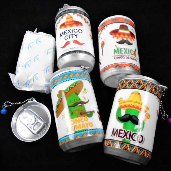"3.25"" Tall Soda Can Look Mexico/Cinco De Mayo Keychain  w/ Wet Wipes   .65 ea"