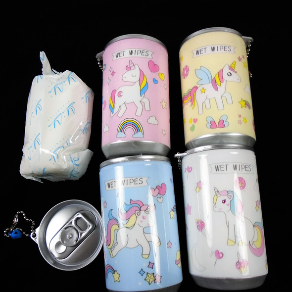 "3.25"" Tall Soda Can Look Keychain  w/ Wet Wipes -  UNICORN THEME .65 each"