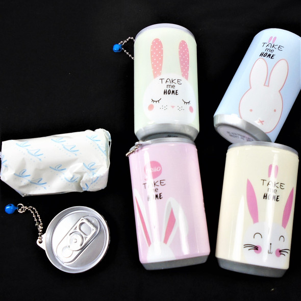 """3.25"" Tall Soda Can BUNNY Theme Keychain  w/ Wet Wipe .65 each"