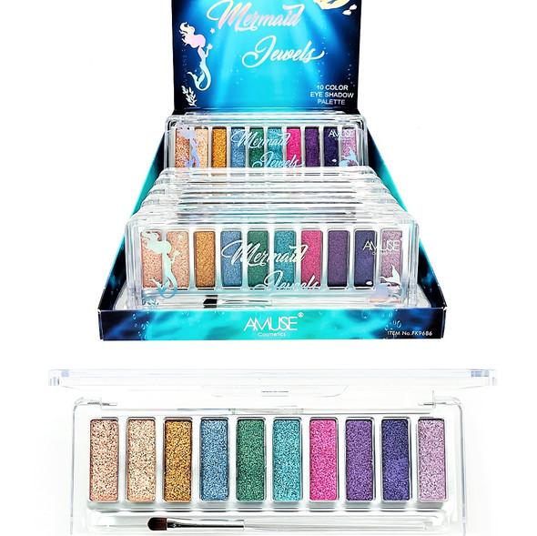 SPECIAL 10 Color Eye Shadow Palette Mermaid Jewels 12 per display bx $ 2.75 each
