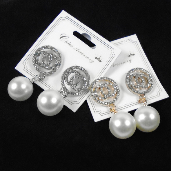 "1.5"" Gold & Silver Cry. Stone O Earring w/ Pearl Drop .58 per pair"