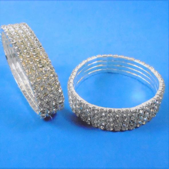 Special 4 Line Stretch Rhinestone Tennis Bracelet Silver Clear Stones .60 each