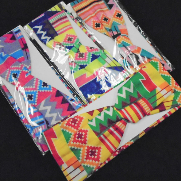 """3"""" Wide African Clothes Print Stretch Headbands  Mixed  .56 each"""