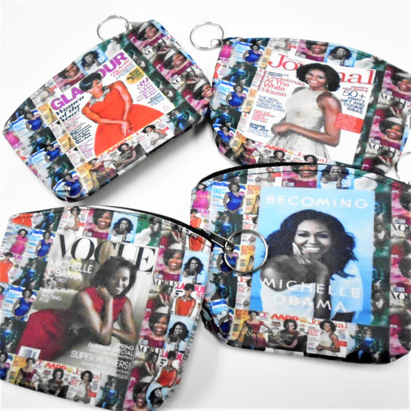 "5"" DBL Side Obama Print  Zipper Bag w/ Keychain  .56 each"
