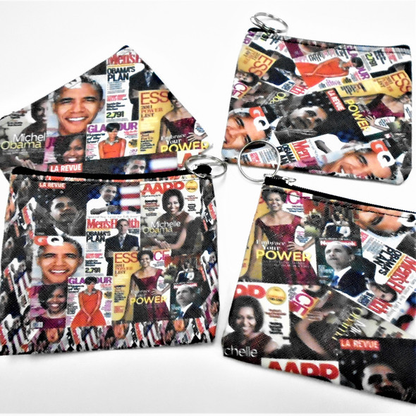 "4.5"" DBL Side Obama Print  Zipper Bag w/ Keychain  .56 each"