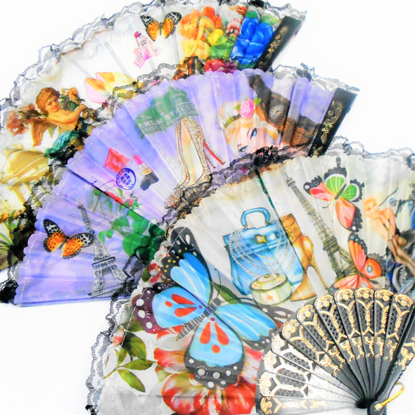 """9"" Black Handle Hand Lace Fans New Mixed Fashion Prints  .56 each"
