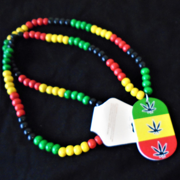 "30"" Rasta Color Wood Bead Necklaces w/ Triple Leaf Pendant . 56 ea"