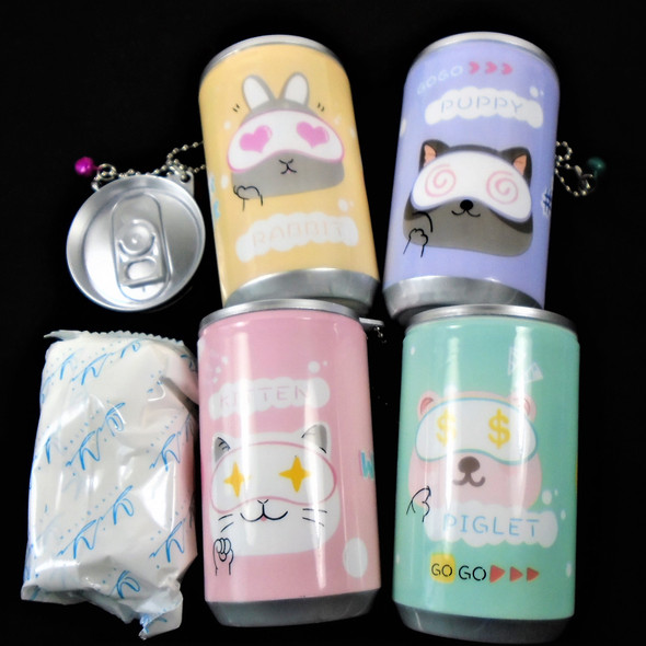 """3.25"" Tall Soda Can Mixed Cute Animal Theme Keychain  w/ Wet Wipe .65 each"