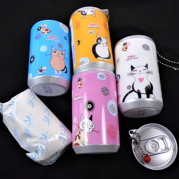 """3.25"" Tall Soda Can Mixed Cute CAT Theme Keychain  w/ Wet Wipe .65 each"