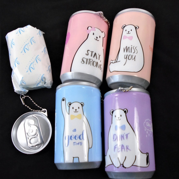 """3.25"" Tall Soda Can  Cute BEAR w/ Saying Theme Keychain  w/ Wet Wipe .65 each"