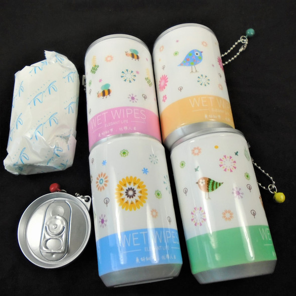 """3.25"" Tall Soda Can  Cute Mother Nature  Theme Keychain  w/ Wet Wipe .65 each"