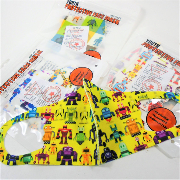 Youth Face Masks Washable & Reusable w/ Robot Theme Print  .45  each