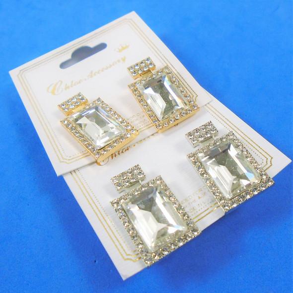 """Elegant 1"""" Petite Perfume Bottle Look Earring w/ Crystal Stones .54 ea pair"""