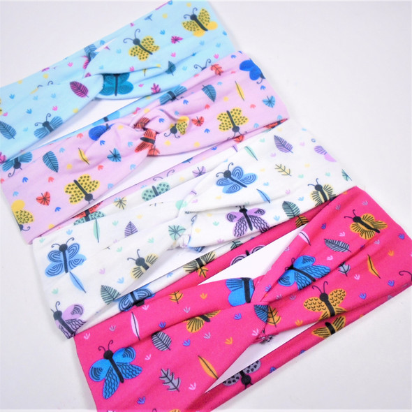 "2.5"" X 8"" Kids Butterfly Print Stretch Headbands 12 per pk .56 each"
