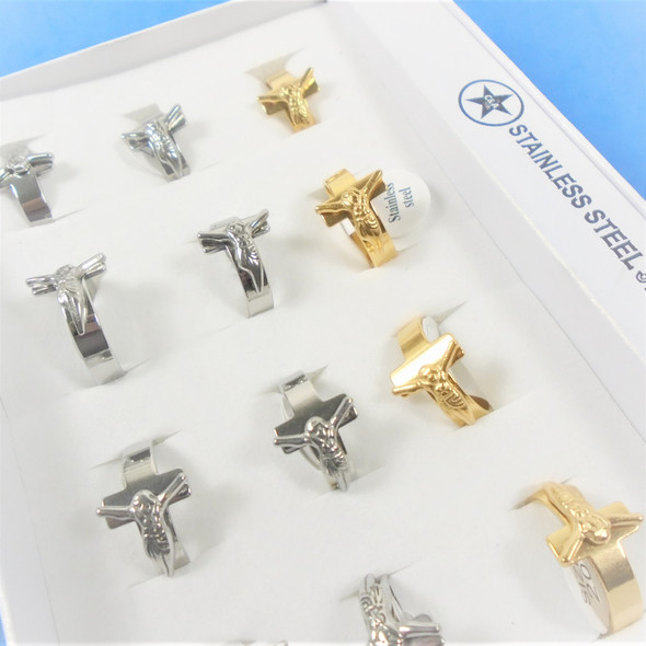 Stainless Steel Gold & Silver Band Rings w/ Jesus on Cross  .60 each