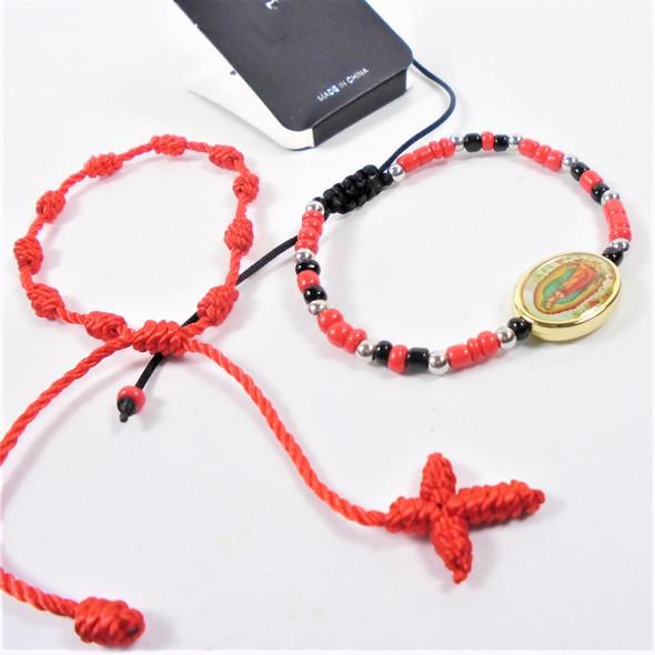 2 Pk Bracelet Set Macrame Cross & Beaded Guadalupe Bracelet  .60 per set