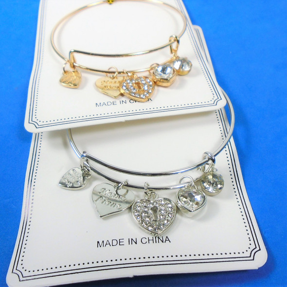 Gold - Silver Wire Bangle Bracelet w/ Mixed Heart Charms  .58  ea