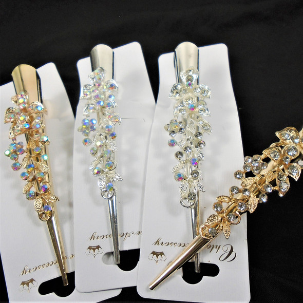 "5"" Metal Gold & Silver Salon Clips w/ Crystal  Stones   .58 each"