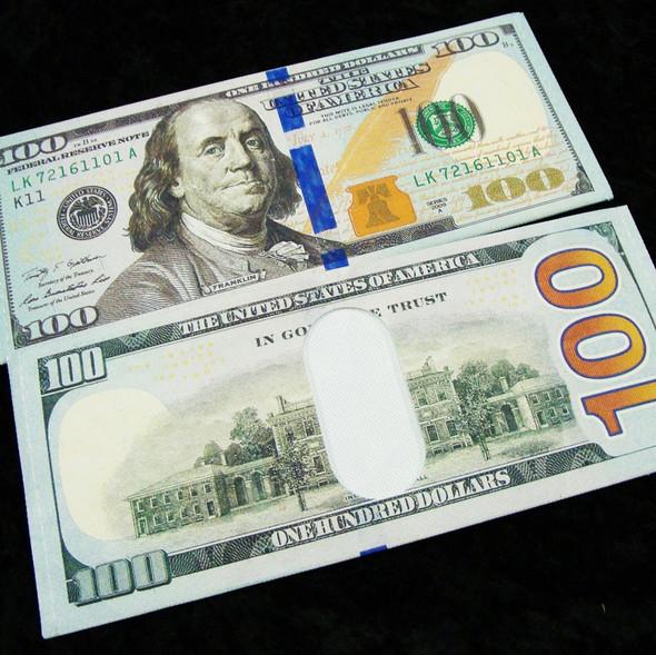 $100 Bill Bi Fold Novelty Wallet 12 per pk .56 ea