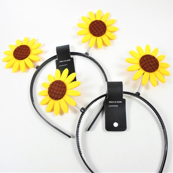 Novelty Sunshine Sun Flower Bobble Style Headbands .56 ea