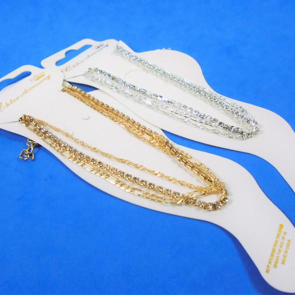Multi Strand Gold & Silver Fashion Chain Anklets w/ Rhinestone .56 ea
