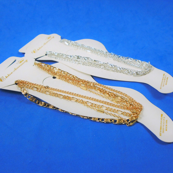 4 Strand Gold & Silver Fashion Chain Anklets  .56 ea