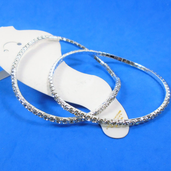 SPECIAL 2 PACK Silver Stretch Rhinestone Anklets Clear Stones   .60 ea set